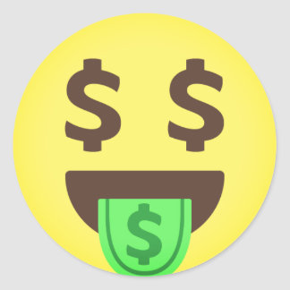 Money Mouth Emoji Classic Round Sticker