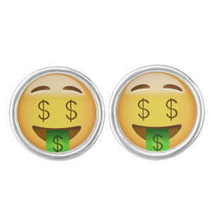 Money Mouth Face Emoji Cufflinks