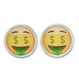 Money-Mouth Face Emoji Cufflinks