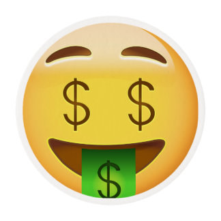 Money-Mouth Face Emoji Edible Frosting Rounds