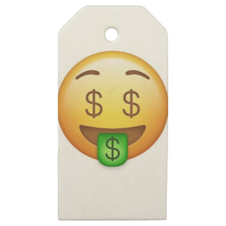 Money Mouth Hilarious Emoji Wooden Gift Tags
