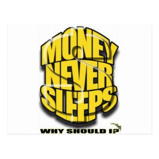 Money Never Sleeps Postcard