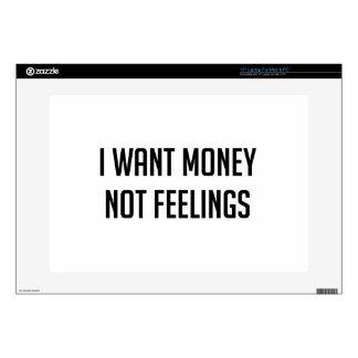 Money not Feelings Skin For Laptop