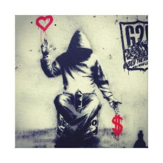 Money or Love Graffiti Canvas Print