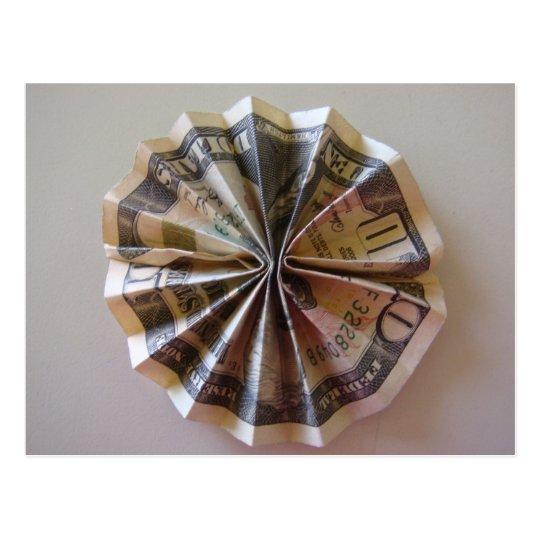 money origami rosette postcard zazzlecom