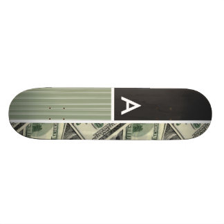 Money Pattern; Green Custom Skate Board