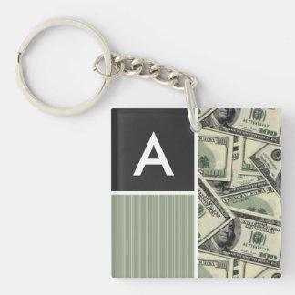 Money Pattern; Green Key Chain