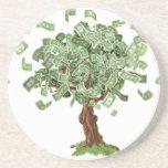 Money savings tree beverage coasters