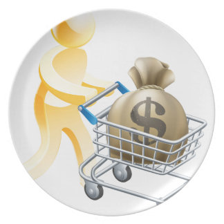 Money shopping cart trolley person plates