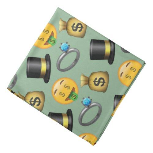 Money Signs Fun green Emoji Pattern Bandana