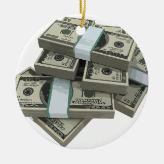 Money Stacks Ceramic Ornament