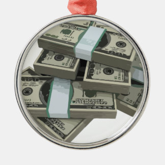 Money Stacks Round Metal Christmas Ornament