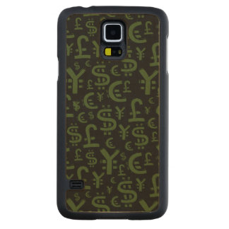 Money Symbols Finace Financial Pattern Carved® Maple Galaxy S5 Case