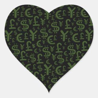 Money Symbols Finace Pattern Heart Sticker