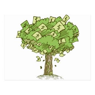 Money Tree Cartoon Drawing Postcard