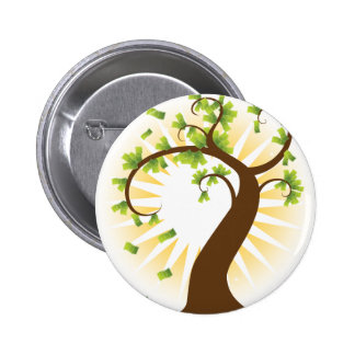 Money Tree Financial Growth Icon Pinback Button