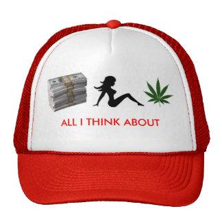 money, trucker girl, 1250694960-weed, ALL I THI... Trucker Hat