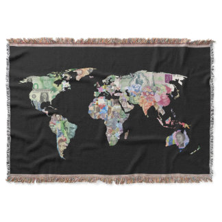 money world map finance country symbol business cu throw blanket