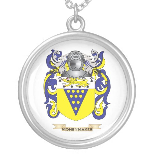 Moneymaker Coat of Arms (Family Crest) Custom Necklace