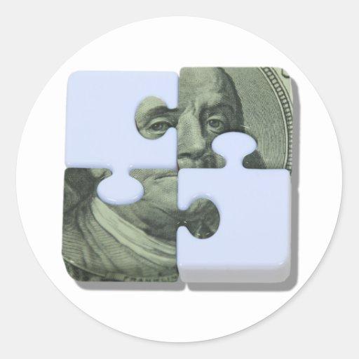 MoneyPuzzle101310 Pegatina Redonda