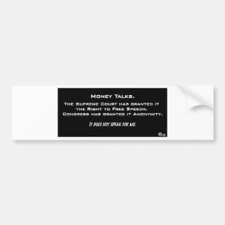 MoneyTalksNeg.pdf Car Bumper Sticker