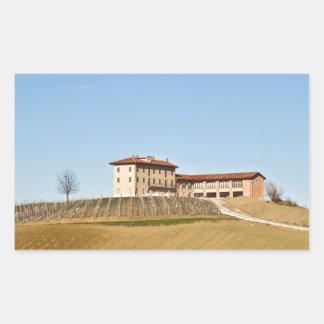 Monferrato under a blue sky rectangular sticker