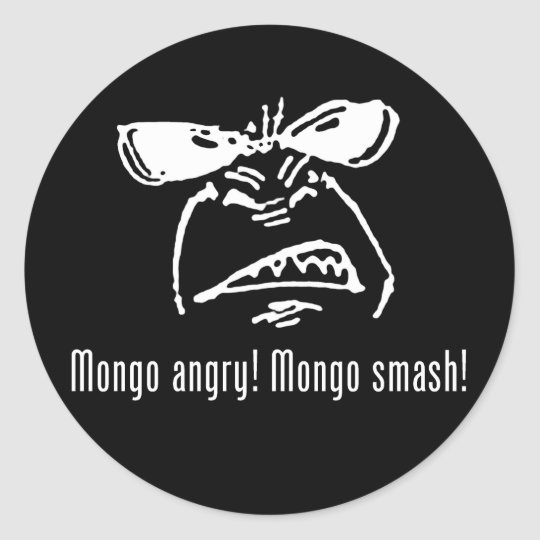 Mongo Angry Mongo Smash Classic Round Sticker