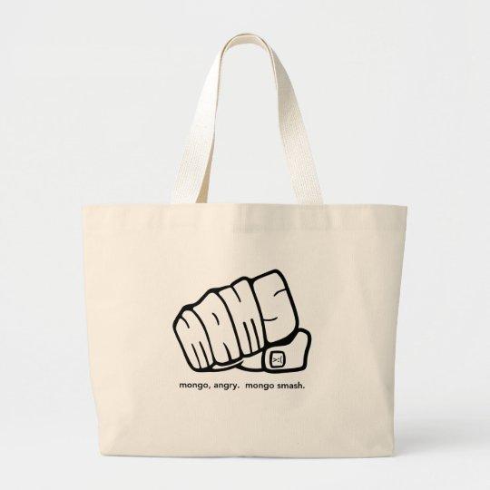 Mongo Angry Mongo Smash Fist Logo Large Tote Bag