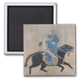 Mongol archer on horseback 2 inch square magnet