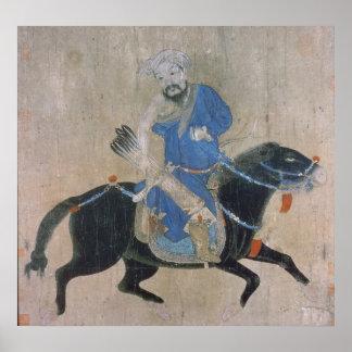 Mongol archer on horseback poster