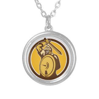 Mongol Horde Barbarian Warrior Sword Circle Retro Round Pendant Necklace