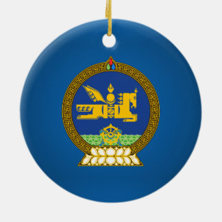 Mongol (Mongolian emblem Double-Sided Ceramic Round Christmas Ornament