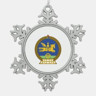 Mongol (Mongolian) emblem Snowflake Pewter Christmas Ornament