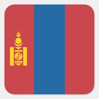 Mongolia - bandera mongol pegatina cuadrada