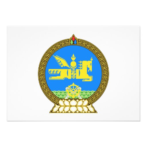 Mongolia Coat of Arms Personalized Announcement