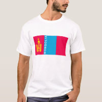 mongolia country flag symbol name text T-Shirt