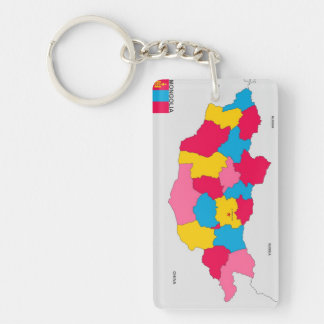 mongolia country political map flag Double-Sided rectangular acrylic keychain