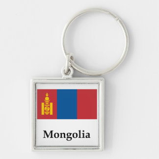 Mongolia Flag Ana Name Silver-Colored Square Keychain