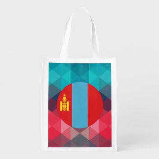 Mongolia flag circle on modern bokeh grocery bags