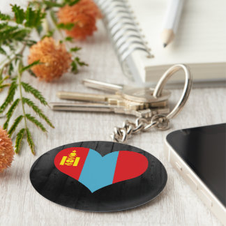 Mongolia flag colored basic round button keychain