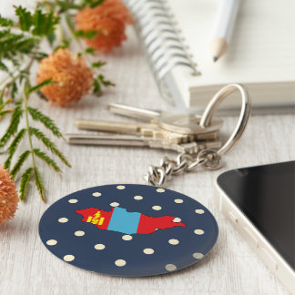 mongolia Flag Map on Polka Dots Basic Round Button Keychain