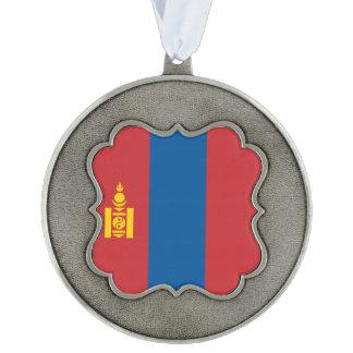 Mongolia Flag Pewter Ornament