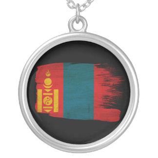 Mongolia Flag Round Pendant Necklace
