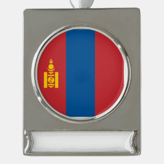 Mongolia Flag Silver Plated Banner Ornament