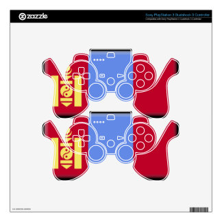 Mongolia Flag Decal For PS3 Controller