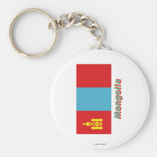 Mongolia Flag with Name Basic Round Button Keychain
