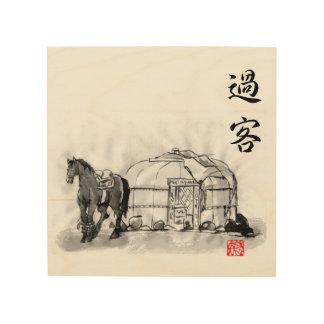Mongolia horsemen life in Japanese art Wood Wall Art