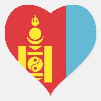 Mongolia Pegatina En Forma De Corazón