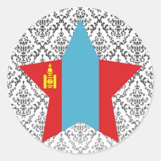 Mongolia Star Round Sticker
