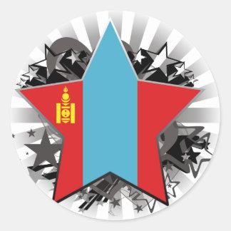 Mongolia Star Round Stickers